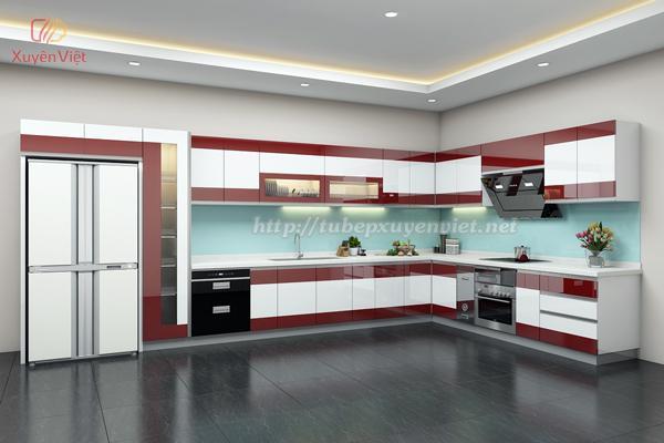 Tủ bếp đẹp hiện đại màu đỏ trắng