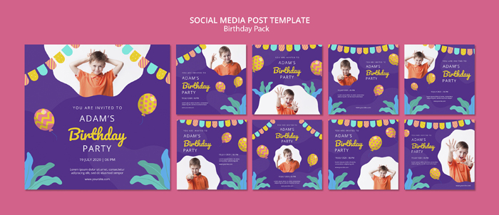 Social Media Post Template With Birthday Party