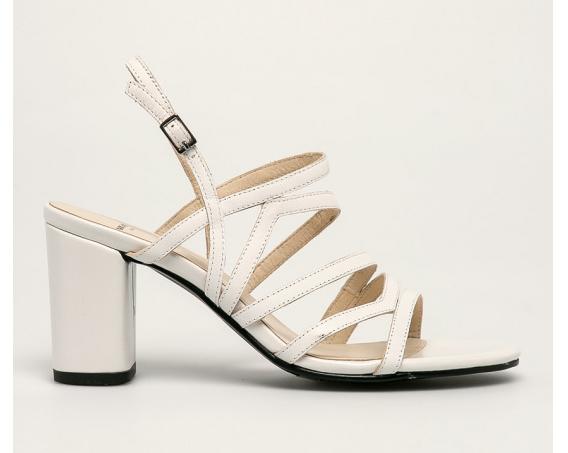 Vagabond - Sandale de firma din piele naturala albe cu toc