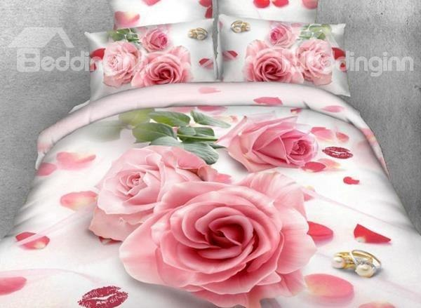 Beddinginn-3D Pink Rose and Red Lips Printed Cotton 4-Piece Bedding Sets