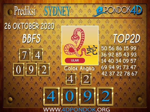 Prediksi Togel SYDNEY PONDOK4D 26 OKTOBER 2020