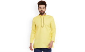 SOJANYA Men Short Kurta Flat 399 (Mrp 1999) at Myntra Many Color option deal by rainingdeal