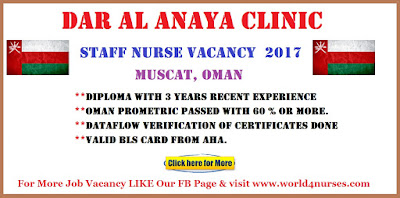 Dar Al Anaya Clinic Muscat Oman Female Staff Nurse Vacancy  2017