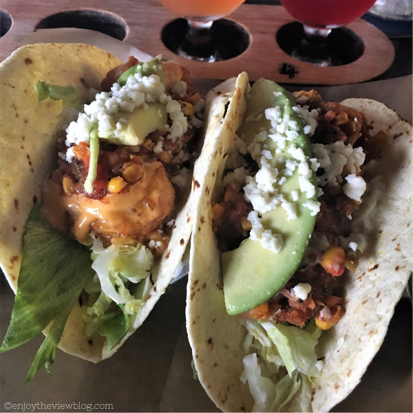 shrimp taco and crispy chicken taco