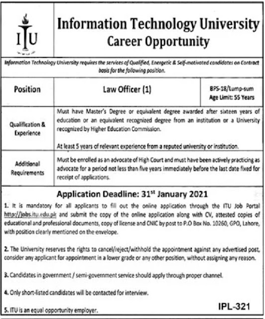 information-technology-university-itu-law-officer-jobs-2021-lahore