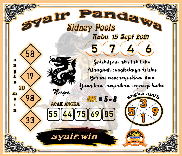 Syair Pandawa SDY Rabu 15-Sep-2021