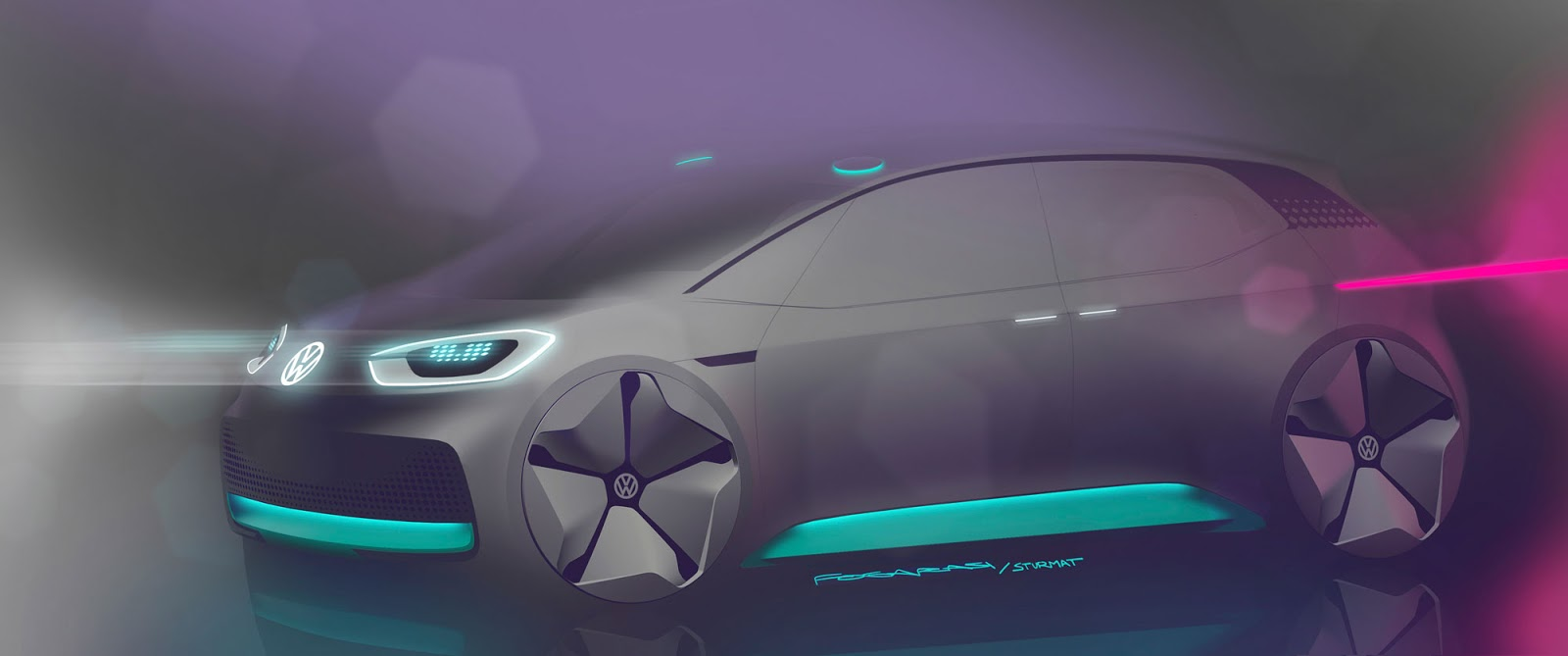 Volkswagen ID sketch by Laszlo Fogarasi-Benko and Sandra Sturmat