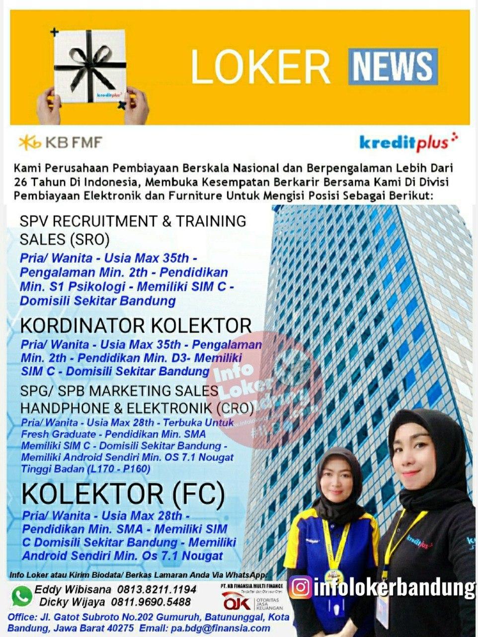 Lowongan Kerja PT. Finansia Multi Finance ( Kredit Plus ) Bandung Agustus 2020