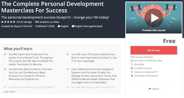 [100% Free] The Complete Personal Development Masterclass For Success