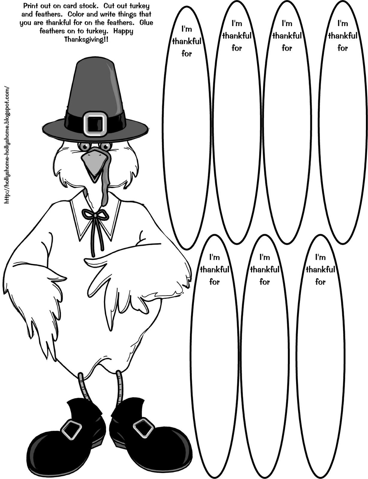 Hollyshome family life thankful turkey coloring craft for I am thankful for turkey coloring page