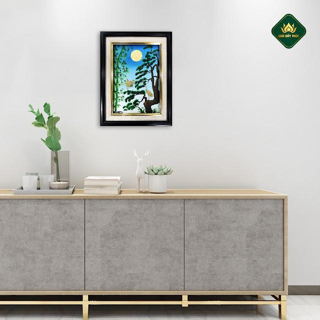 Tranh sơn dầu phong cảnh đẹp Chim Hạc Làng Quê