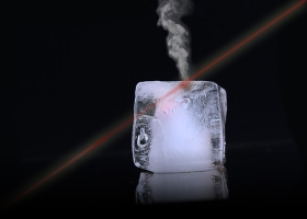 Picture of ice melting into water vapor.