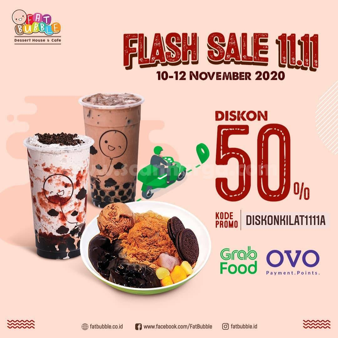 Fat Bubble Promo Flash Sale 11.11 Diskon 50% via GRABFOOD