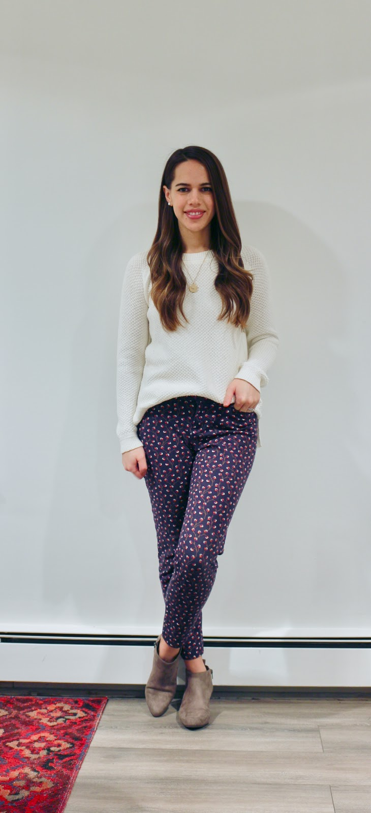 Jules in Flats - Patterned Pixie Ankle Pants with Knit Sweater and Ankle Boots (Business Casual Winter Workwear on a Budget)