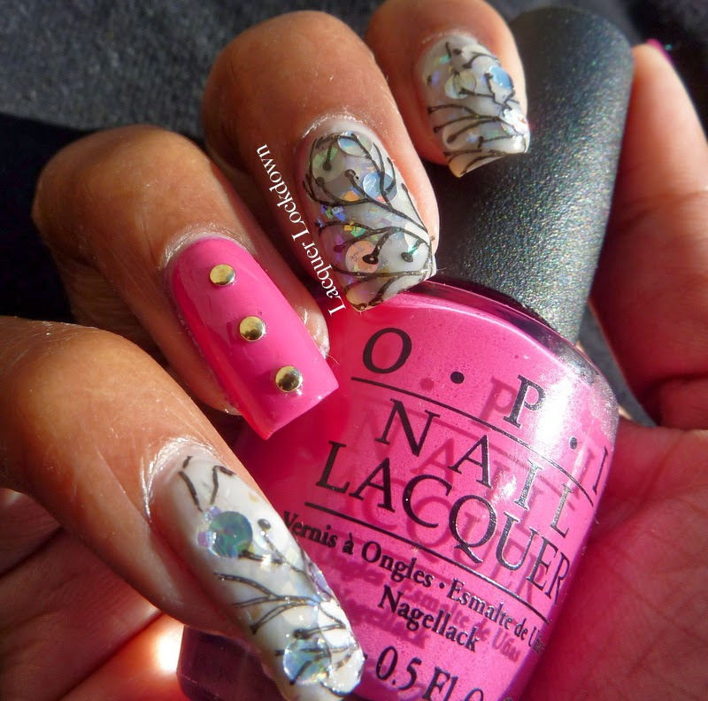 Lacquer Lockdown - Vivid Lacquer, VL014, Plates I Love!, nail art, stamping, Rica Fae, OPI My Pointe Exactly, OPI Pink Flamencio, jelly sandwich, indie polish, indie plates, cute nails, cute art, easy nail art ideas, diy nail art, pueen 2014, jelly finish polish, nail art ideas, holographic nails