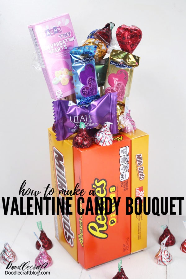 Valentine's day can be such a fun holiday if you are excited about love, friendship or romance. I love giving gifts to my friends and neighbors just to help pull people out of the Winter blues. I don't get overly wrapped up in the romance of the holiday...just keep it fun!  This cute candy bouquet is the perfect gift to make for friends or lovers. It's fun and easy! It's better than flowers because---CANDY!  How do you like to celebrate Valentine's day? Do you have a party, invite friends over, eat ice cream and binge watch rom-coms or have a fancy date--red dress and all?