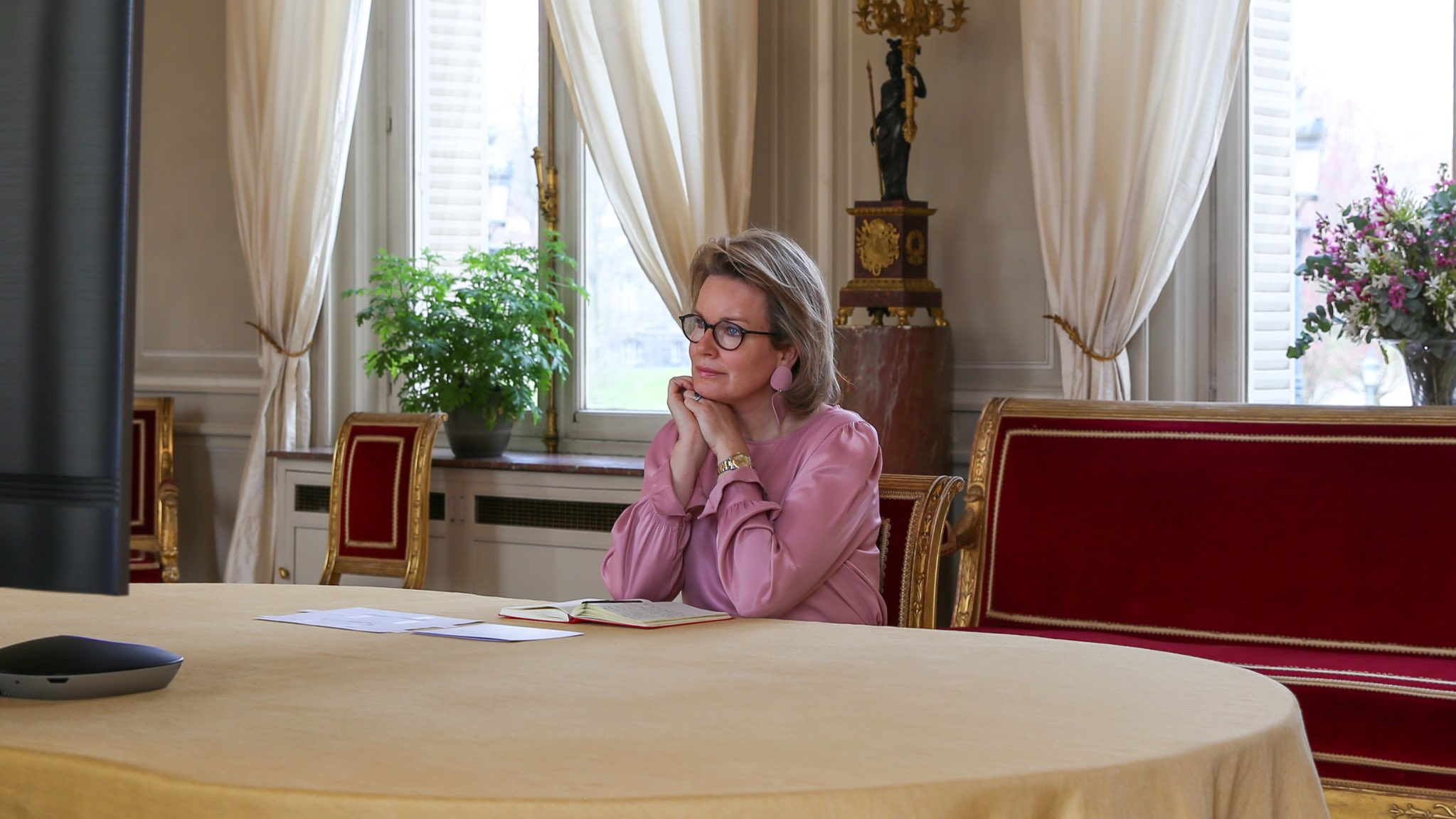 Queen Mathilde of Belgium held video conferences at Royal Palace