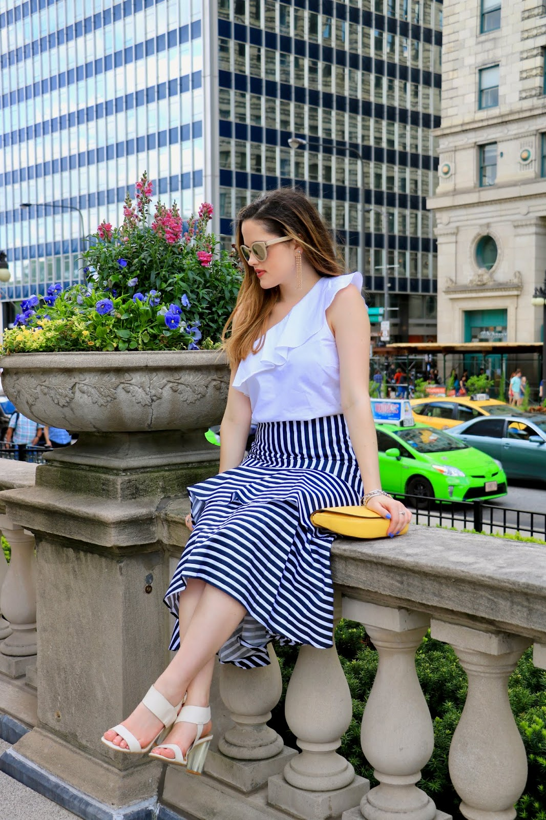 Nyc fashion blogger Kathleen Harper showing how to wear a ruffle skirt and ruffle top