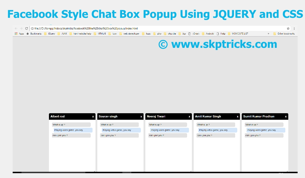Facebook Style Chat Box Popup Layout Design Using JQUERY and
