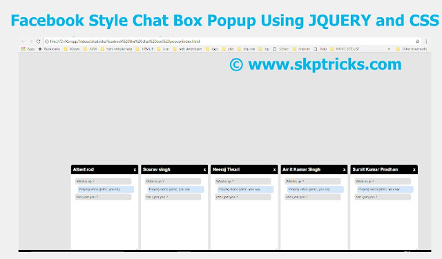 facebook style chat box popup using javascript and css, facebook style chat box popup using jquery and css, facebook style chat box popup