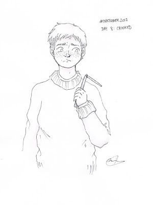 Inktober 2017 day 8 Harry Potter Ron Weasley crooked wand