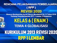 RPP 1 Lembar Kelas 6 Tema 4 SD/MI Kurikulum 2013 Revisi 2020 Tahun Pelajaran 2020 - 2021