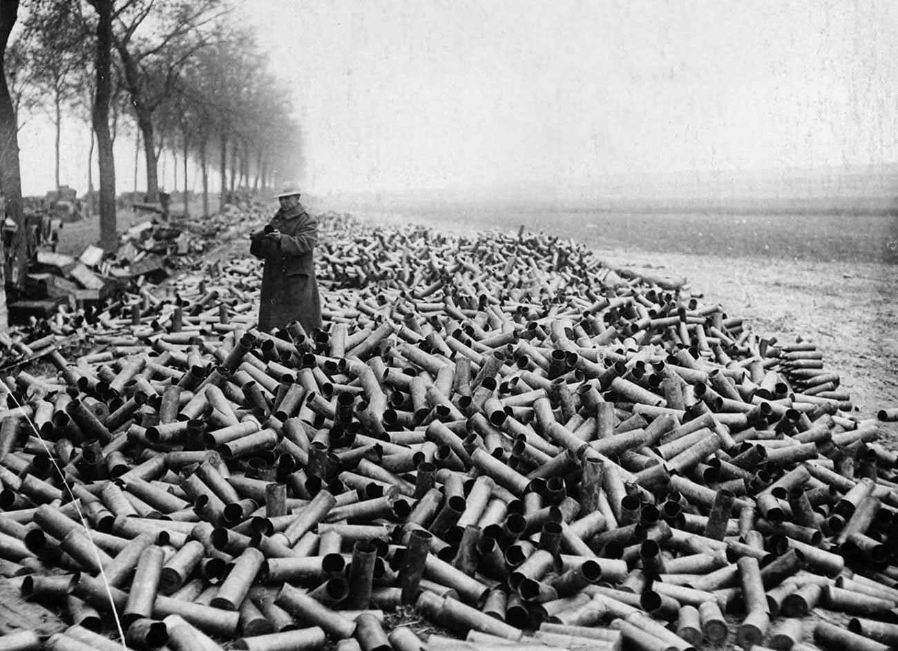 This picture shows a pile of 105 mm shells spent during the course of a single day.