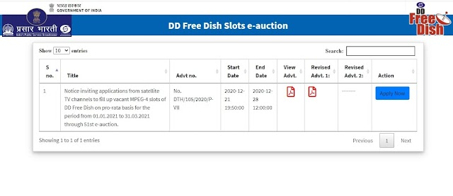 51st e-auction - Results Declared for MPEG-4 Slots