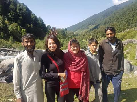 Five people camping in Naranag, Kashmir.