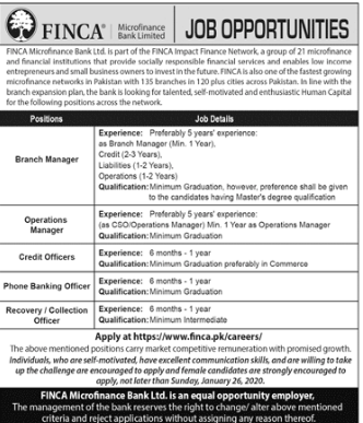 Jobs in FINCA Micro finance Bank limited 2020
