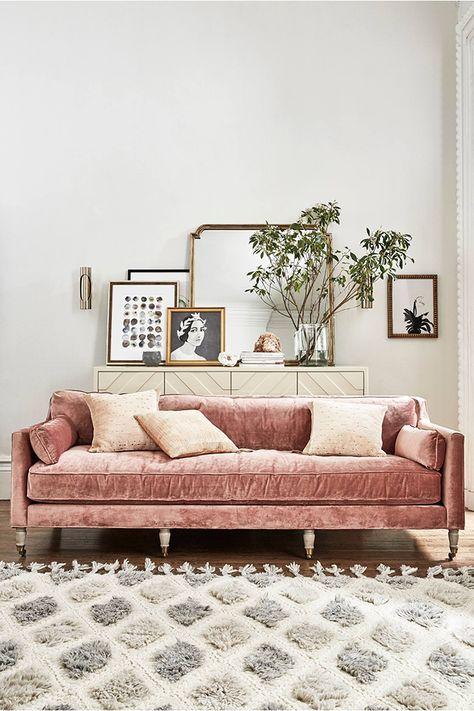 Sofá, alfombra, Chic, Decoración, inspire, Inspiration, Morocco, Pink, Romántico, Rosa, Salón, Terciopelo, Velvet, inspiration day, anthropologie, la musa decoracion