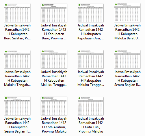 Download Kumpulan Jadwal Imsakiyah Ramadhan 1442 H Seluruh Kabupaten/Kota di Provinsi Maluku