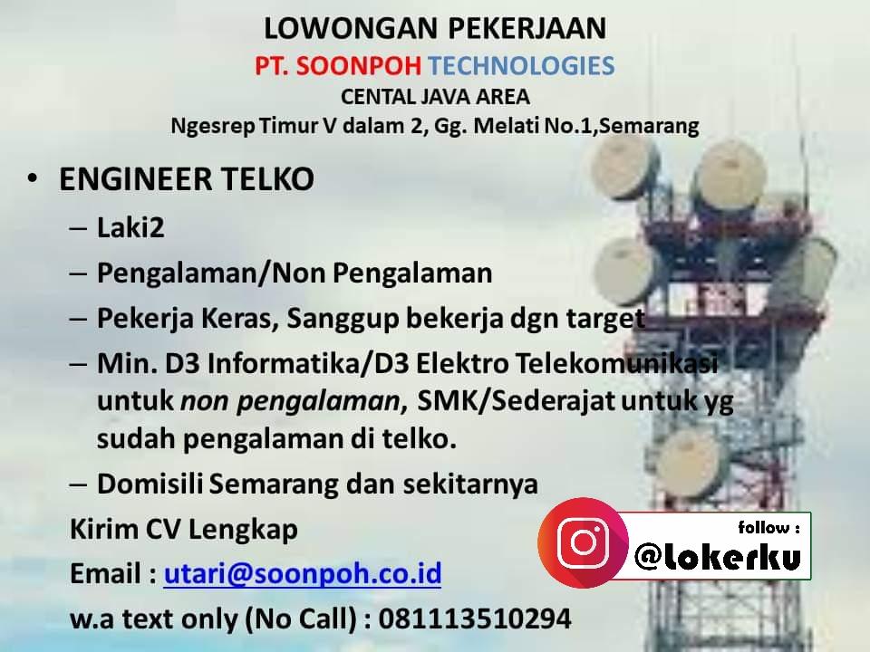 Lowongan Kerja Engineer Telko di PT. Soonpoh Technologies Semarang