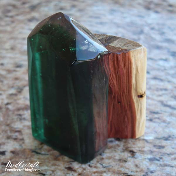 Geometric Resin and Wood Bookend made with EasyCast resin.