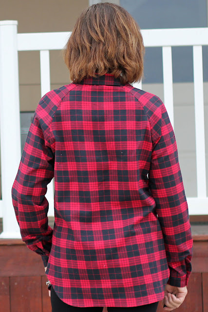 McCall's 7472 Shirt from Mood Fabrics' Red Tartan Plaid- back view