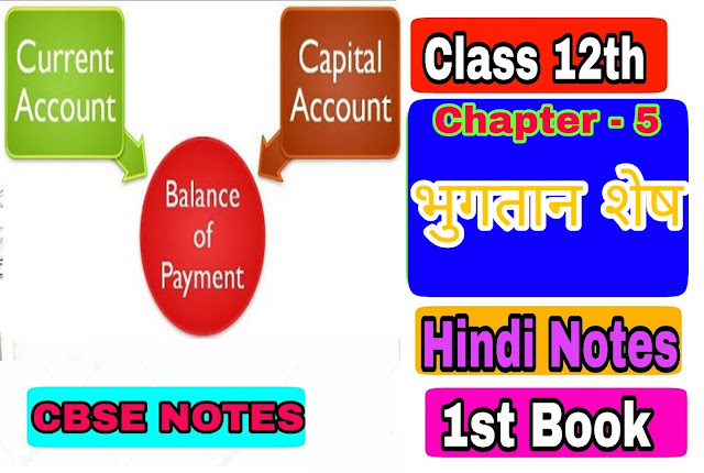 12th class economic Chapter - 5 Balance of Payments & Foreign Exchange notes in Hindi medium
