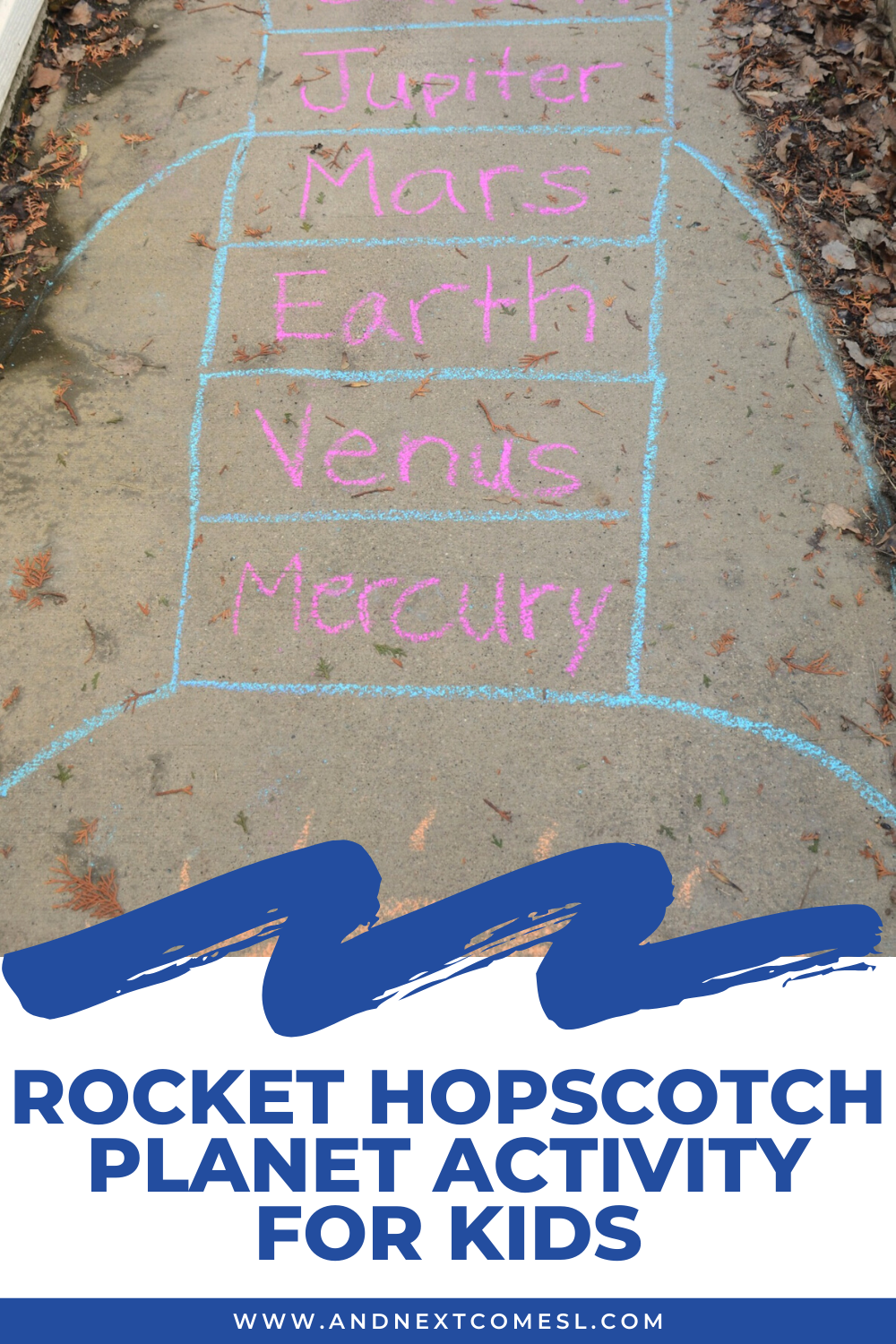 Rocket hopscotch planet activity for kids - a great way to get kids moving while learning about the order of the planets in our solar system