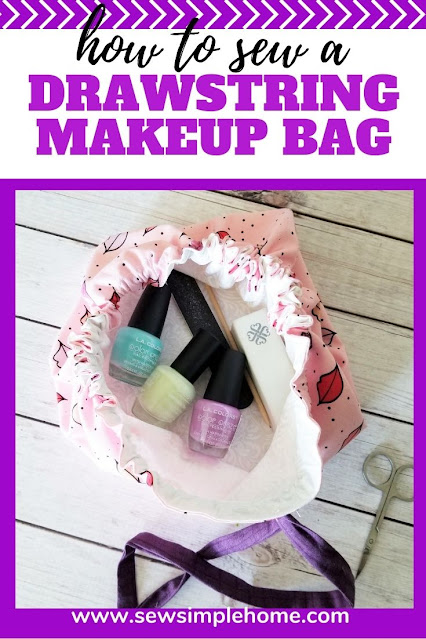 Learn how to sew a cinched makeup bag with this free drawstring bag tutorial and pattern.