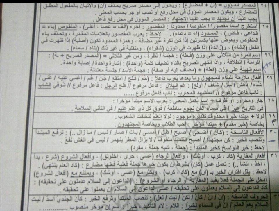 أقوى مراجعات اللغة العربية للصف الثالث الثانوي 24