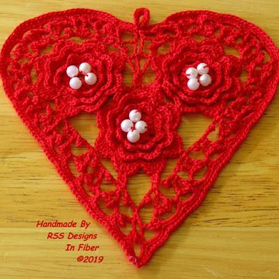 Fiesta Red Irish Crochet Heart with Pearls - Handmade By Ruth Sandra Sperling at RSS Designs In Fiber