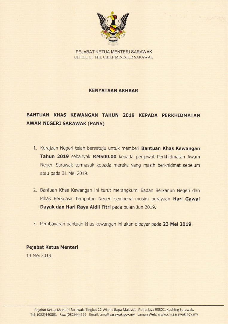 Umum Tarikh Bonus Hari Raya 2019 Negeri Sarawak Jadi Yang Pertama Tehpanas