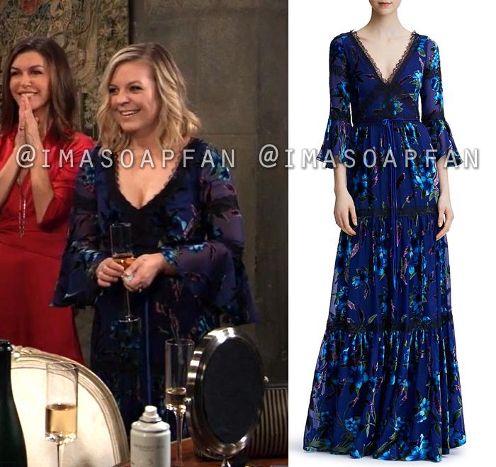 Maxie Jones, Kirsten Storms, Blue Floral Burnout Velvet Gown, Wedding, General Hospital, GH