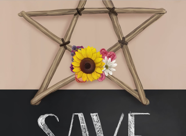 A wooden pentagram with flowers.