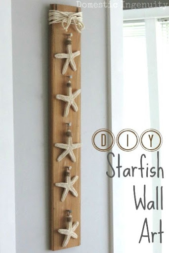 Starfish Wood Wall Art Decor Idea