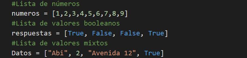 Tipos de listas en Python