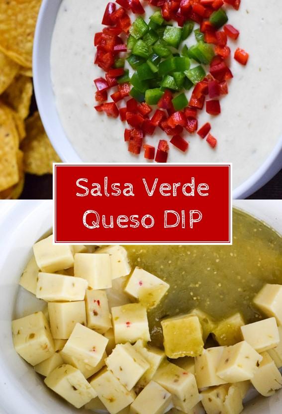 SALSA VERDE QUESO DIP #Salsa #Cheese #Verde #Queso #Dip #Slowcooker