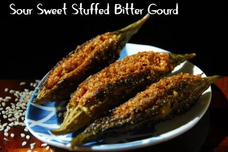 Sour Sweet Stuffed Bitter Gourd. Khatta Meetha Karela