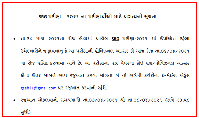 SEB Gujarat SRG Exam 2021 Question Papers, Answer Key, Result And Merit List - Check Details Here