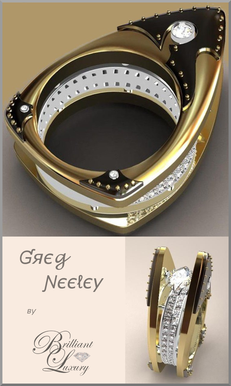 Brilliant Luxury ♦ Greg Neeley Floating Marquis Black Night Ladies Ring
