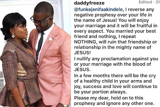 OAP Daddy Freeze Decrees Positively into the life of Funke Akindele, following Prophet Faleyimu's Prophesy that She's likely to Die Barren and Single